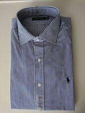 """Men's Ralph Lauren Shirt Royal Blue Striped Approx 46"""" Chest Custom Fit"""
