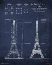 Eiffel Tower Blueprint Poster Print, 24x30