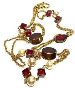 PHILIPPE LEANDRI PARIS FRANCE RUBY GLASS FAUX PEARL GOLD TONE  COUTURE NECKLACE