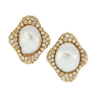 14k Yellow Gold over 925 Sterling Silver White Round Pearl Stud Earrings Women's
