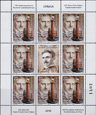 SERBIA 2016 125th Anniversary of Tesla's Transformer Patent sheet MNH
