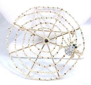(W) vintage SPIDER WEB RHINESTONE HALLOWEEN SPOOKY BROOCH PIN SPIDERWEB
