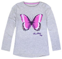 Girls Top Long Sleeve Butterfly Shine Glitter T shirt Grey Ages 2 3 4 5 6 Years