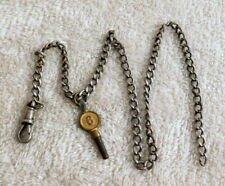 ANTIQUE / VINTAGE WATCH FOB CHAIN - WITH WATCH CLASP & KEY