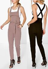 LADIES WOMENS ZOE PINAFORE TIE WAIST DUNGAREES SIZE 8,10,12