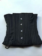 "305 Authentic Black Pinstripe 18"" Inch Underbust Corset Steel Boned"