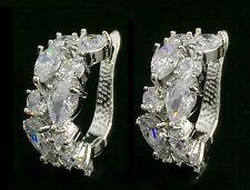 14k White Gold GF Earrings made w/ Swarovski Crystal Clear Stone Bridal Jewelry