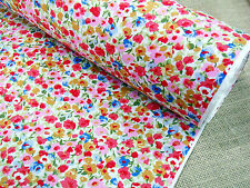 COTTON PRINT FABRIC +++ SUMMER MEADOW +++ CORAL