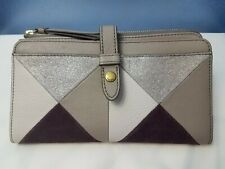 Fossil Fiona Colorblock Wallet Champagne Clutch Suede Leather
