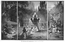 Jungbrunnen, Mythologie, nach Ernst Bergerr, Original-Holzstich von 1889