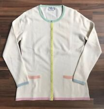 Vintage Chanel Boutique Cashmere Cardigan Sz M Cream Multicolor Trim