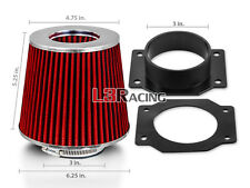 AIR INTAKE Adapter+ RED Dry Cone Filter For Nissan 95-99 Sentra 200SX 1.6L
