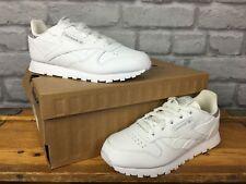 Reebok Niños UK 13 EU 31 De Cuero Blanco Clásico Zapatillas Silver Glitter talón