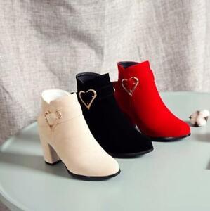 Women Block Heel Round Toe Suede Hear Buckle Ankle Boots Autumn Zipper Shoes New