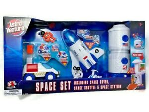 Astro Venture Space Playset Shuttle Station Rover Astronaut Figures Set Toy Kids