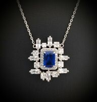 925 Sterling Silver Blue Sapphire & White Topaz Square Pendant Necklace