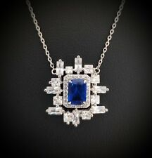925 Sterling Silver Blue Sapphire & White Diamond Pendant Necklace