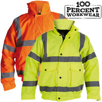 Heavy Duty Waterproof High Visibility Padded Bomber Jacket Coat Hood Hi Viz Vis