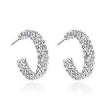 925 Silver Plt Chainmail Hollow Circle Hoop Earrings Mesh Net Womens Ladies a
