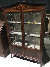 Antique Early C20th Wooden Stained Glass Glazed Drinks Cabinet Bookcase