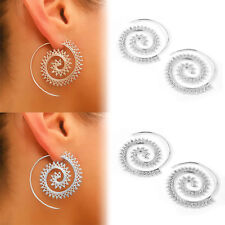 Womens Silver Circles Round Spiral Brass Tribal Hoop Earrings Vintage Jewelry