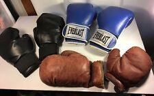 Adult Boxing Gloves Lot 2 Pairs Everlast 2 Antiques Fighting Training Sports