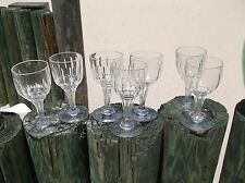Set of 7 panel cut glass hollow champagne stems c1920-30s