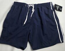 Pacific Surf by Exist Swim Trunks Mens Size 4XL  Navy Blue White Stripe