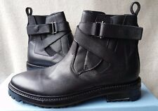 New Lanvin 7 UK 8 US Black Leather Belted Chelsea Slip on Boots Shoes Elastic