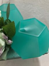 Floral Bowl Aqua Blue Frost Geometric Glass Prism Centerpiece Wedding Office etc