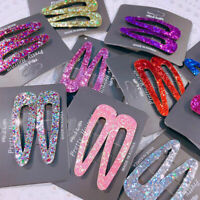 2XWomen Girls Cute Bling Sparkly Glitter Sequins Hair Clip Snap Barrette Hairpin