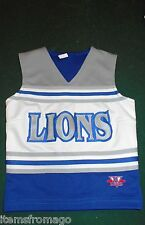 "B Bad Lions Blue, Gray, & White Cheerleading Uniform Top 30"" Girls"