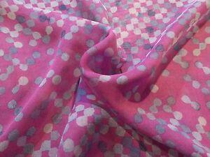 Magenta with Gray Squares Print Silk Chiffon!