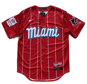 Miami Marlins Nike City Connect Sugar Kings Red Baseball Jersey Size Medium