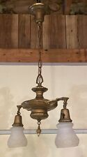 Antique Brass Ornate 2 Globe Victorian  Hanging Parlor Lamp- Needs Wiring