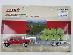 Ertl 1/64th Dodge 2500 red pickup truck with gooseneck trailer & round hay bales