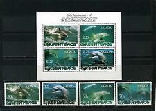SAMOA 1997 FAUNA DOLPHINS GREENPEACE  SET OF 4 STAMPS & S/S MNH