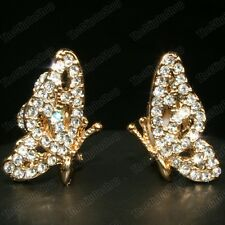 CLIP ON crystal double wing ELEGANT BUTTERFLY EARRINGS gold fashion rhinestone