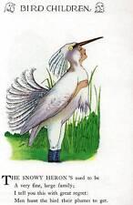 1930 Elizabeth Gordon's Bird Children: Snowy Heron Vintage Print by M T Ross