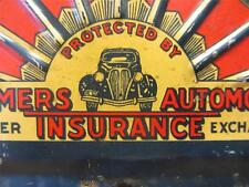 Vintage Metal Farmer's Insurance Plate Tag Sign > Old Antique Automobile 8617