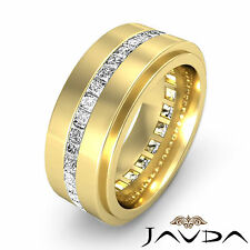 Channel Princess Diamond Ring 18k Yellow Gold Mens Eternity Wedding Band 1.7Ct