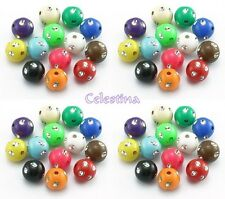 100 x Round Acrylic Metal Dotted Beads - Spotty Silver Dots - 8mm - Mixed PB103