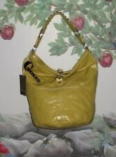 New CHOCOLATE New York Mustard Yellow Bucket Hobo Bag w Chain Detail