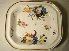 """Worcester Chamberlains Floral Hand Painted Serving Bowl 11"""" x 9 1/2"""" early 19thc"""