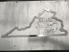 Virginia State Outline Home Sweet Home Metal Wall Art Home Decor