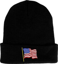 American Flag Watch Cap / USA Black Beanie 80027