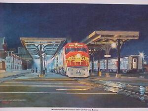 """Railroad Art, Winfield, Santa Fe WB SF Chief @ Newton, KS,signed,18X24""""(0403)"""