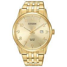 Mens Citizen Quartz Gold Tone Stainless Steel Gold Dial Watch Date BI5002-57Q