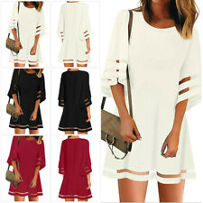 US Women 3/4 Bell Sleeve Swing Dress Casual Loose Summer Holiday Mesh Panel Tops