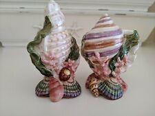 Fitz & Floyd Oceana Salt & Pepper Shaker Excellent seashell, coral, coastal